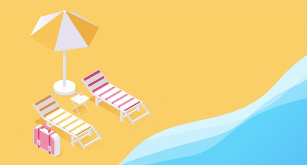 Summer tropical vacation resort 3d concept. two deck chairs on seashore, ocean sands