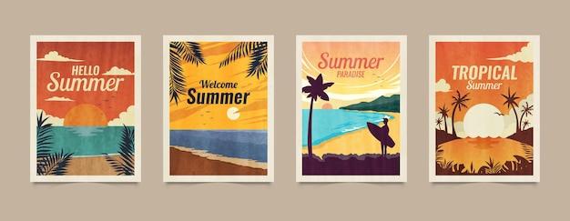 夏の熱帯のベクトルカードの背景と夏の熱帯の葉