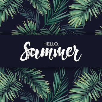 Summer tropical vector design for banner or flyer with dark green palm leaves and white lettering.