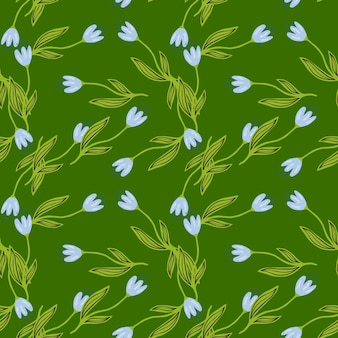 Summer tulip flower seamless pattern on green background.