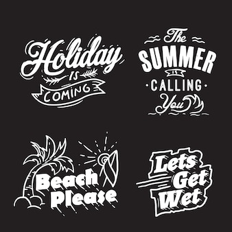 Summer typography and holiday words