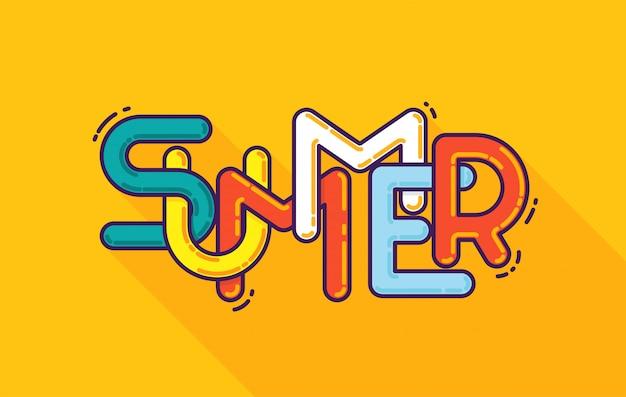 夏のタイポグラフィ。フォント構成のテンプレート。
