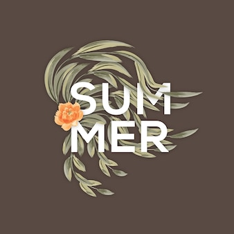 Summer Typography With Flowers & Leaves