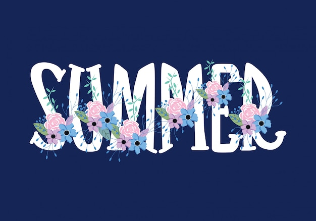 Summer typography wording lettering