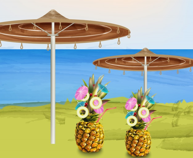 Summer umbrella and pineapple cocktails