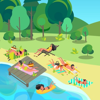 여름 휴가 활동 개념. 사람들은 비치 타월에 누워 휴식을 취하고 선탠을 받고 있습니다. 여름 휴가 및 휴가에 여자와 남자.