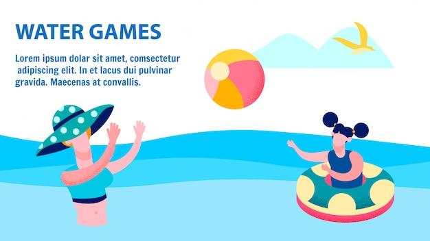 Summer vacation activities flat banner template