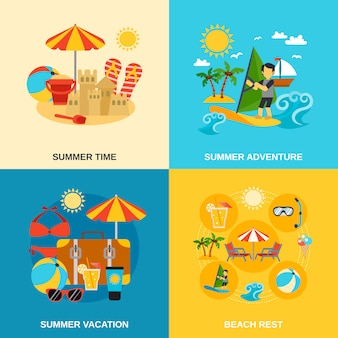 Summer vacation and adventure icons set