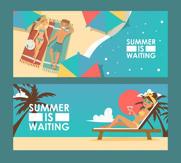 Летние каникулы рекламный баннер