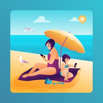 海の母と傘の下で娘で夏休み。ベクトルフラットイラスト。