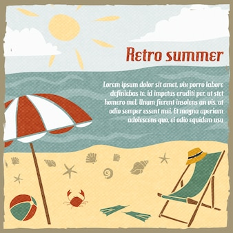 Summer vacation background template retro