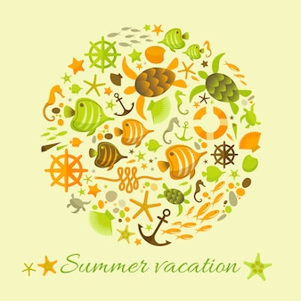 Summer vacation background with marine illustrations elements collected in circle