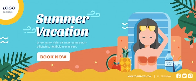 Summer vacation banner layout template