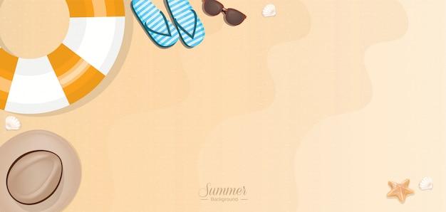 Summer vacation beach accessories on sand - web banner