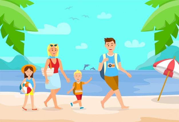 Summer vacation on beach cartoon illustration.