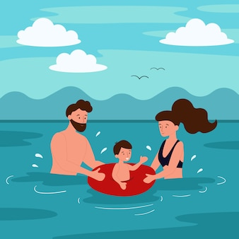 Summer vacation on the beach. the family is swimming in the sea. mom and father teach a child to swim. flat cartoon characters.