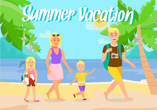 Summer vacation on beach flat postcard with text.
