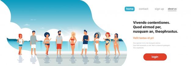 Summer vacation at beach landing page
