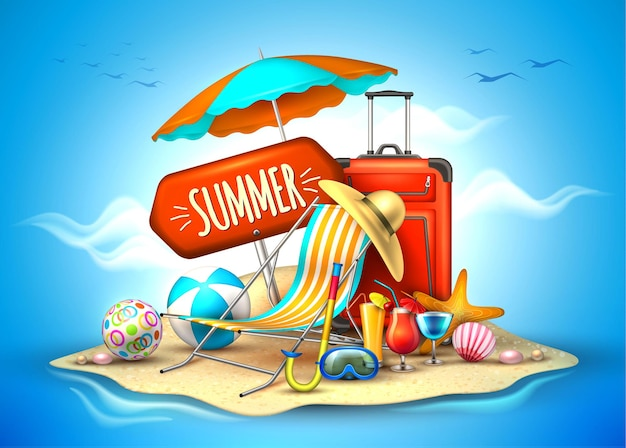 여름 휴가 해변 파티 현실적인 포스터 여행 관광 배경