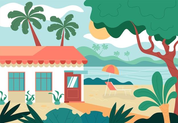 夏休みビーチ海辺旅行のコンセプト。