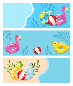 Summer vacation on beach, swimming pool  illustration. solar relaxation and fun holiday, inable toys, rubber ball, clean water on blue background. beautiful hotel by sea.