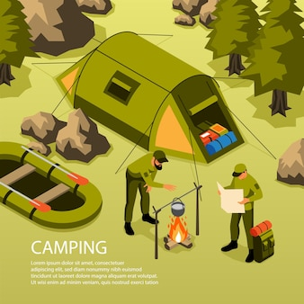 Summer vacation camping survival trip adventures isometric composition with tent boat campfire cooking in forest