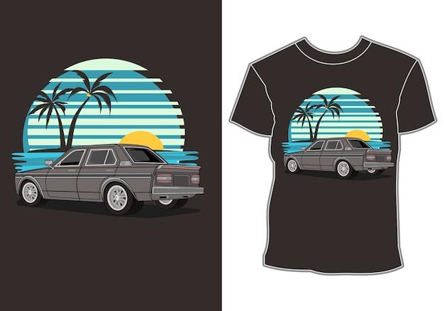Summer vacation, car by the beach, t-shirt design