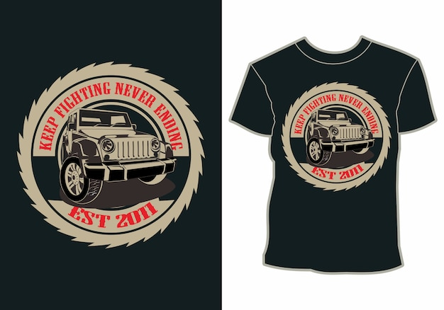 Summer vacation, car by the beach, t-shirt design