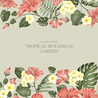Summer vacation card of tropical flowers of plumeria and hibiscus at the label.