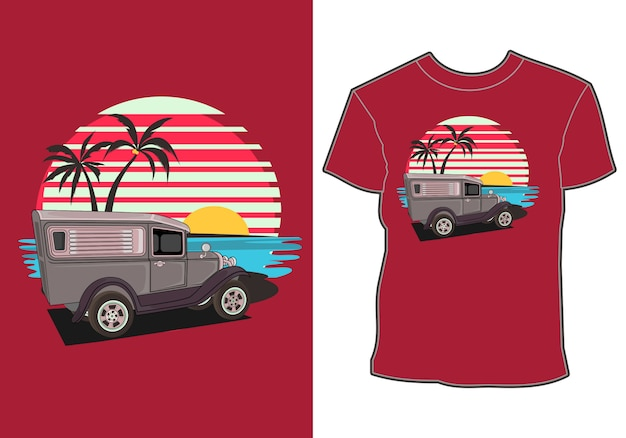 Summer vacation cars by the beach, car-themed shirt designs and summer vacations