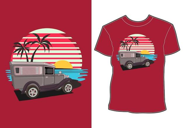 ビーチ沿いの夏休み車、車をテーマにしたシャツのデザイン、夏休み
