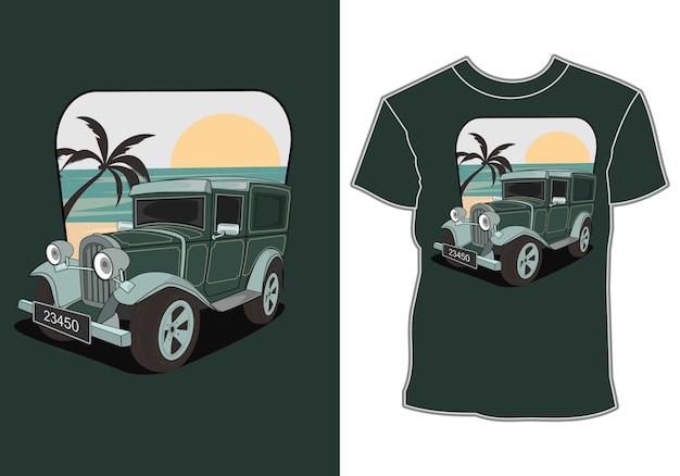 Автомобили летнего отдыха на пляже, дизайны футболок на тему автомобилей и летние каникулы