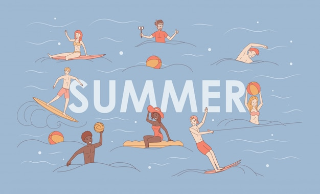Summer vacation cartoon concept. water sport and activity.