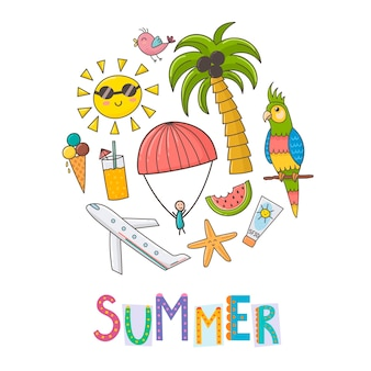 Summer vacation circle shape background.