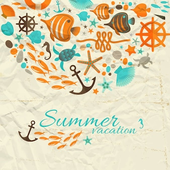 Summer vacation composition with nautical decorative illustration on wrinkled paper