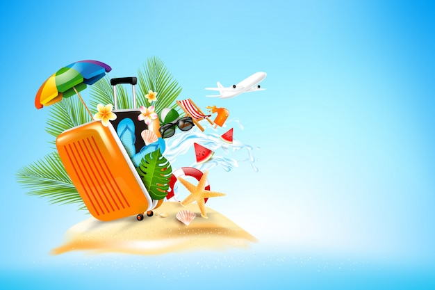Summer vacation concept on blue background
