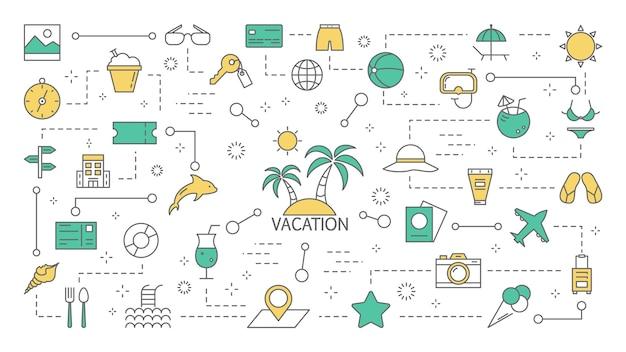 夏休みのコンセプトです。太陽が降り注ぐビーチへの休暇旅行。観光と旅行のアイデア。カラフルな線アイコンのセットです。図
