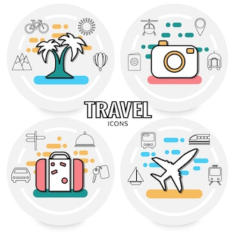 Summer vacation concept with palm tree transport sun mountains passport luggage signboard map pin