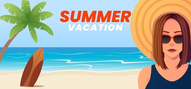 ビーチでの女性との夏休みのコンセプト。
