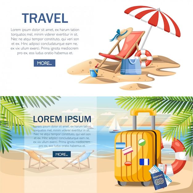 夏休みのコンセプトです。黄色の荷物、パスポート、夏のビーチのチケット。フラットスタイルのデザイン。緑のヤシとビーチの背景のイラストを残します。 webサイトページとモバイルアプリのデザイン。