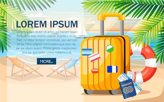 여름 휴가 개념. 노란색 수하물, 여권, 여름 해변 티켓. 스타일. 녹색 야자수와 해변 배경에 그림 나뭇잎. 텍스트 배치