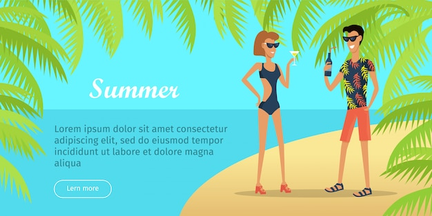 Summer vacation conceptual flat vector web banner template
