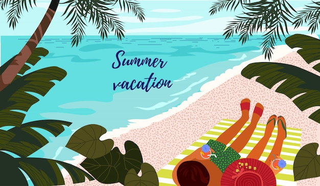Summer vacation. cute horizontal card or poster with a  illustration of a resting couple on a tropical beach