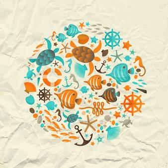 Концепция дизайна летних каникул с кругом, образованным морскими декоративными элементами на плоской векторной иллюстрации мятой бумаги