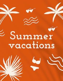 오렌지 소셜 미디어 배너에서 여름 휴가 편집 가능한 템플릿 벡터