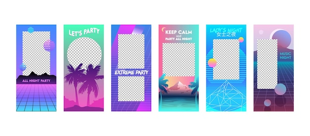 Набор редактируемых шаблонов летних каникул. истории из instagram