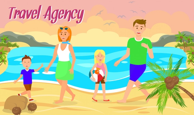 Summer vacation flat banner layout with lettering.