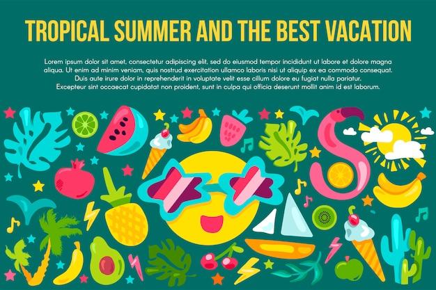 Summer vacation flat banner template