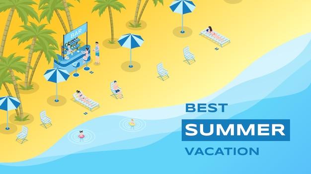 Summer vacation flat banner template