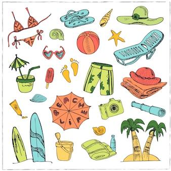 Летние каникулы праздник каракули набор иллюстраций для меню дизайна